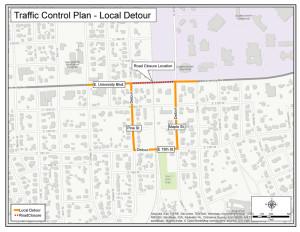 University Ave local detour map web