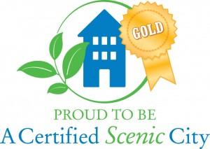 Logotipo dorado de Scenic City